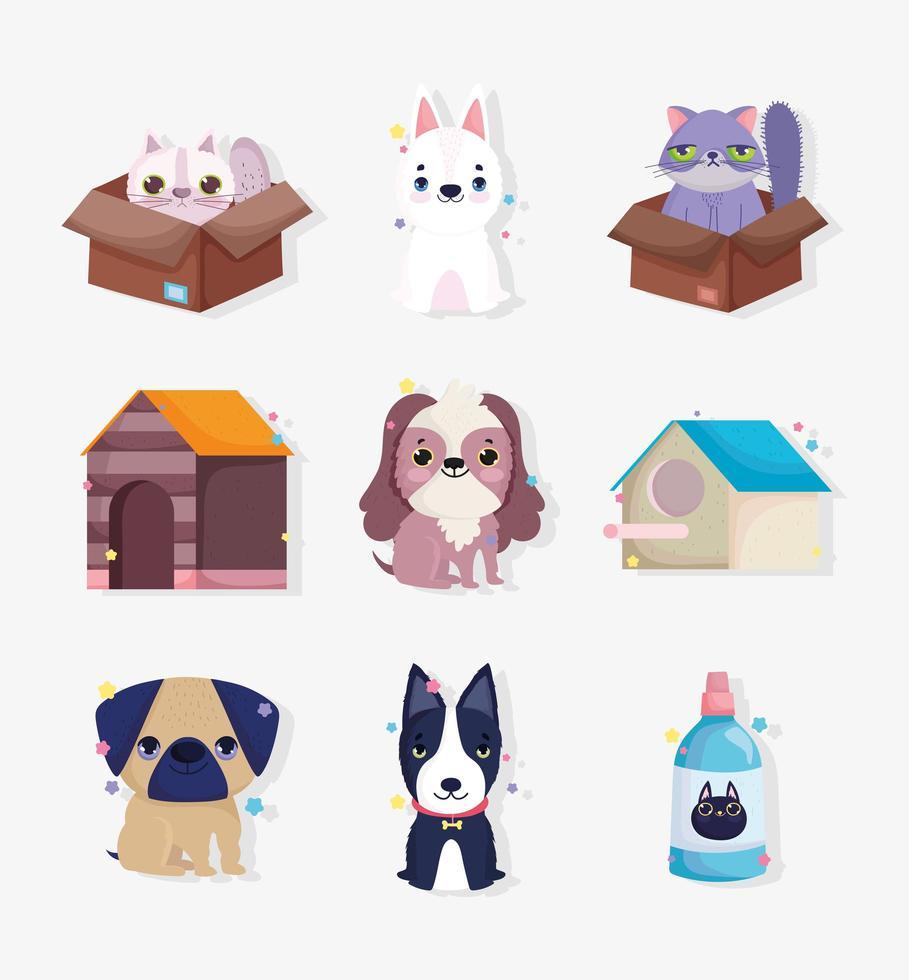 colección de pequeños animales y personajes de mascotas. vector