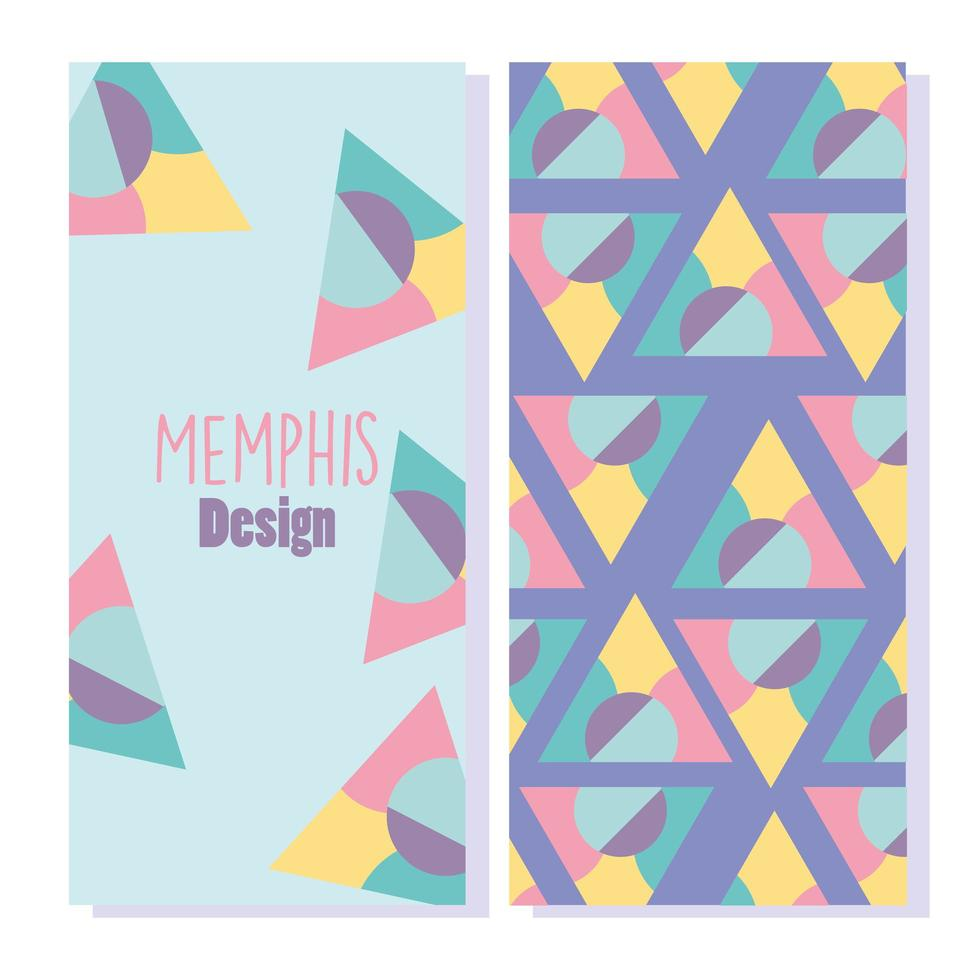 cubiertas geométricas coloridas de memphis o pancartas vector