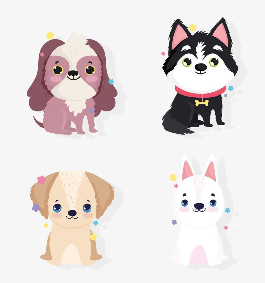 lindo conjunto de iconos de perros pequeños vector