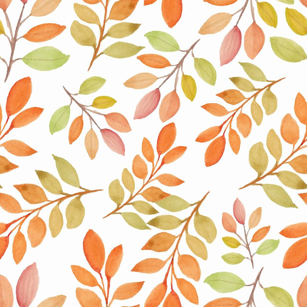 Watercolor fall season nature seamless pattern with branch vector