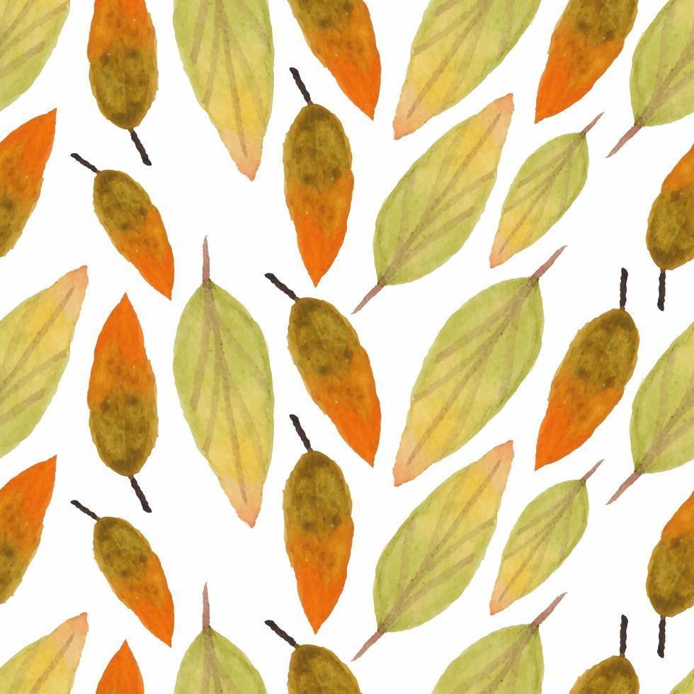 aquarela folha caindo padrão temporada de outono vetor
