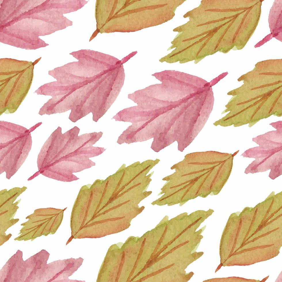 aquarela sem costura padrão com folhas de outono vetor