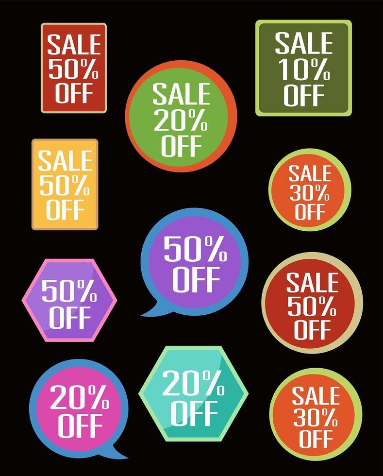 ícones de tags de venda vetor