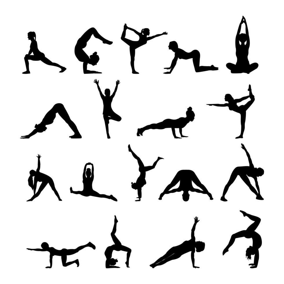 silhuetas de ioga figura negra vetor