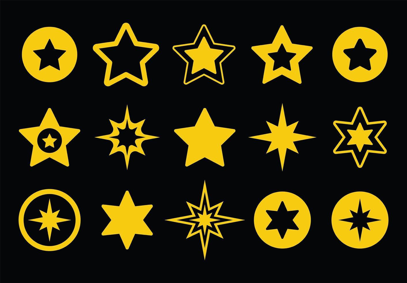 Golden star collection vector