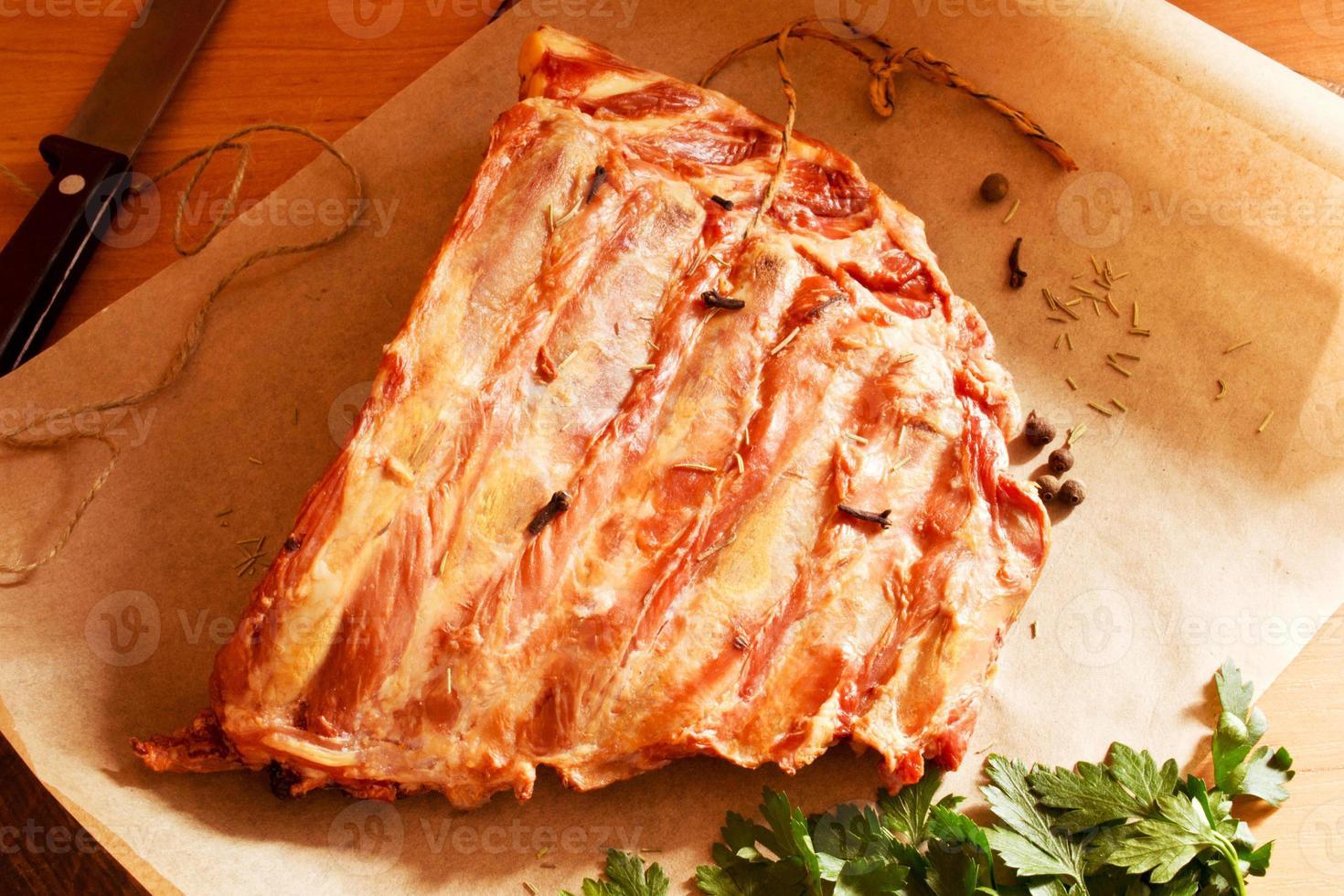 Smoked pork ribs photo