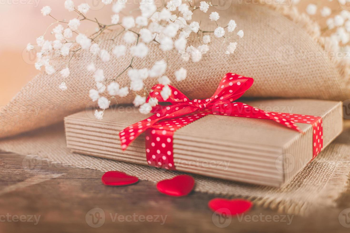 Valentine's gift covering by rustical textile photo