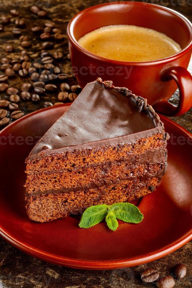 pastel de chocolate sacher foto