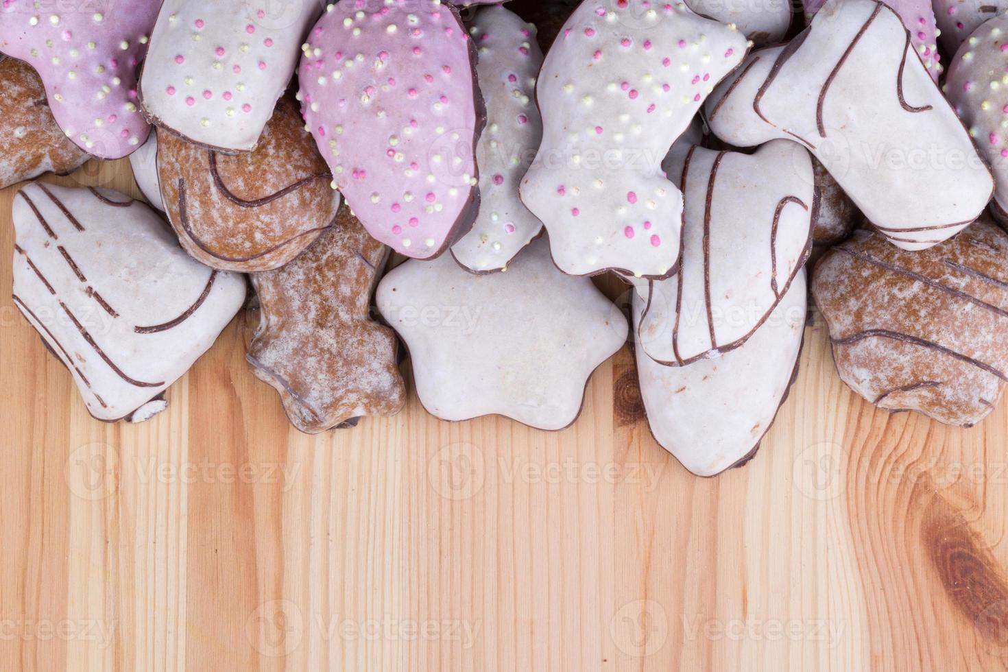muchos panes de jengibre navideños foto