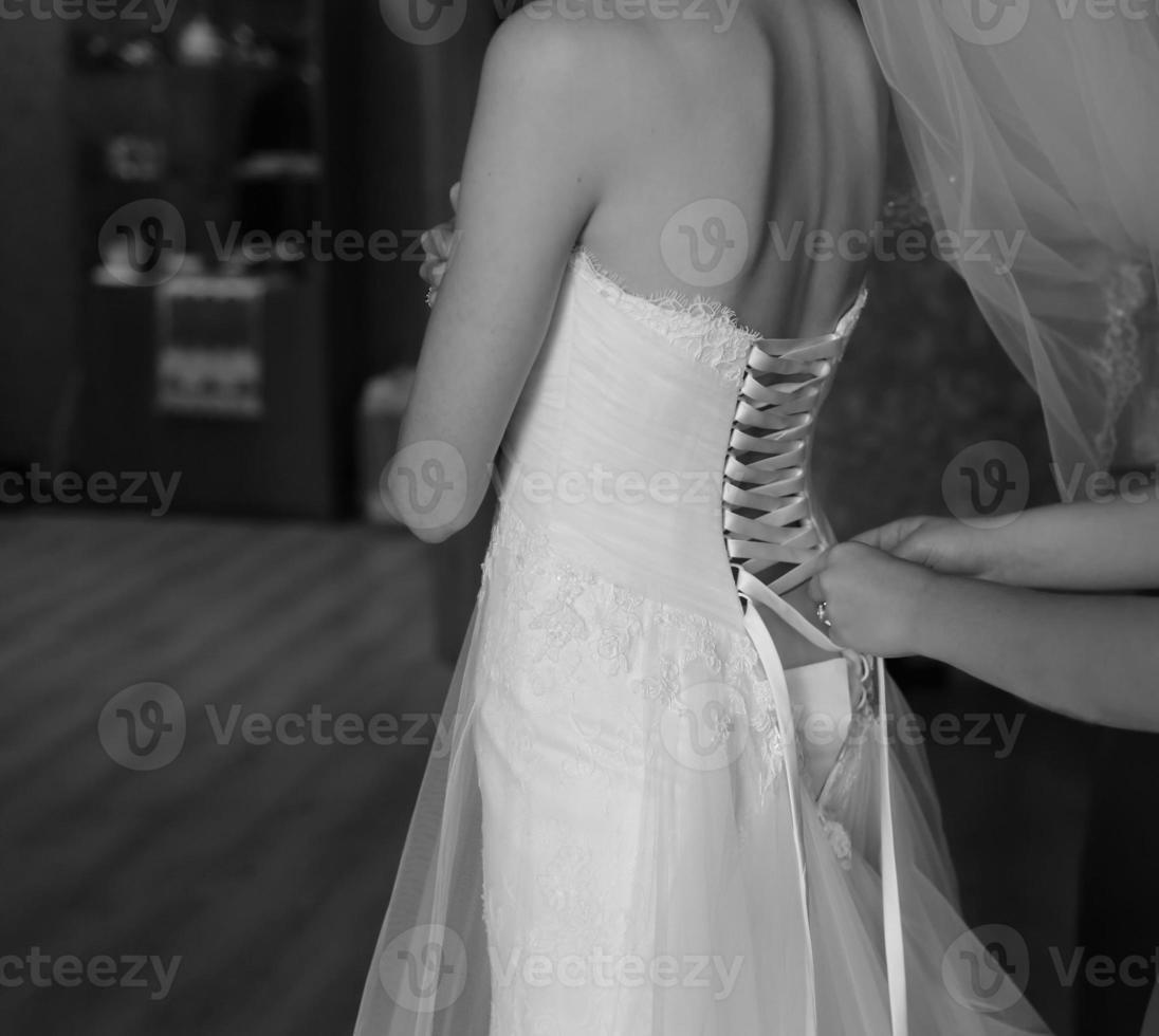 Magic bridal morning. Bride getting ready photo