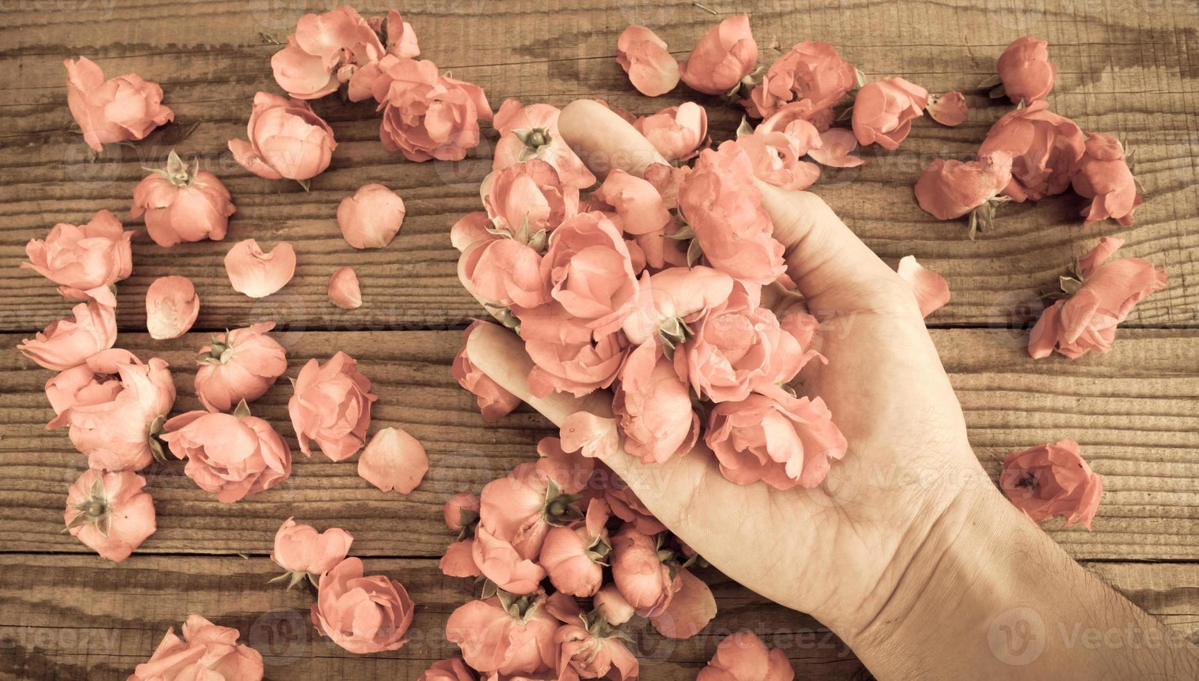 hand among red roses on a wooden table, vintage effect photo