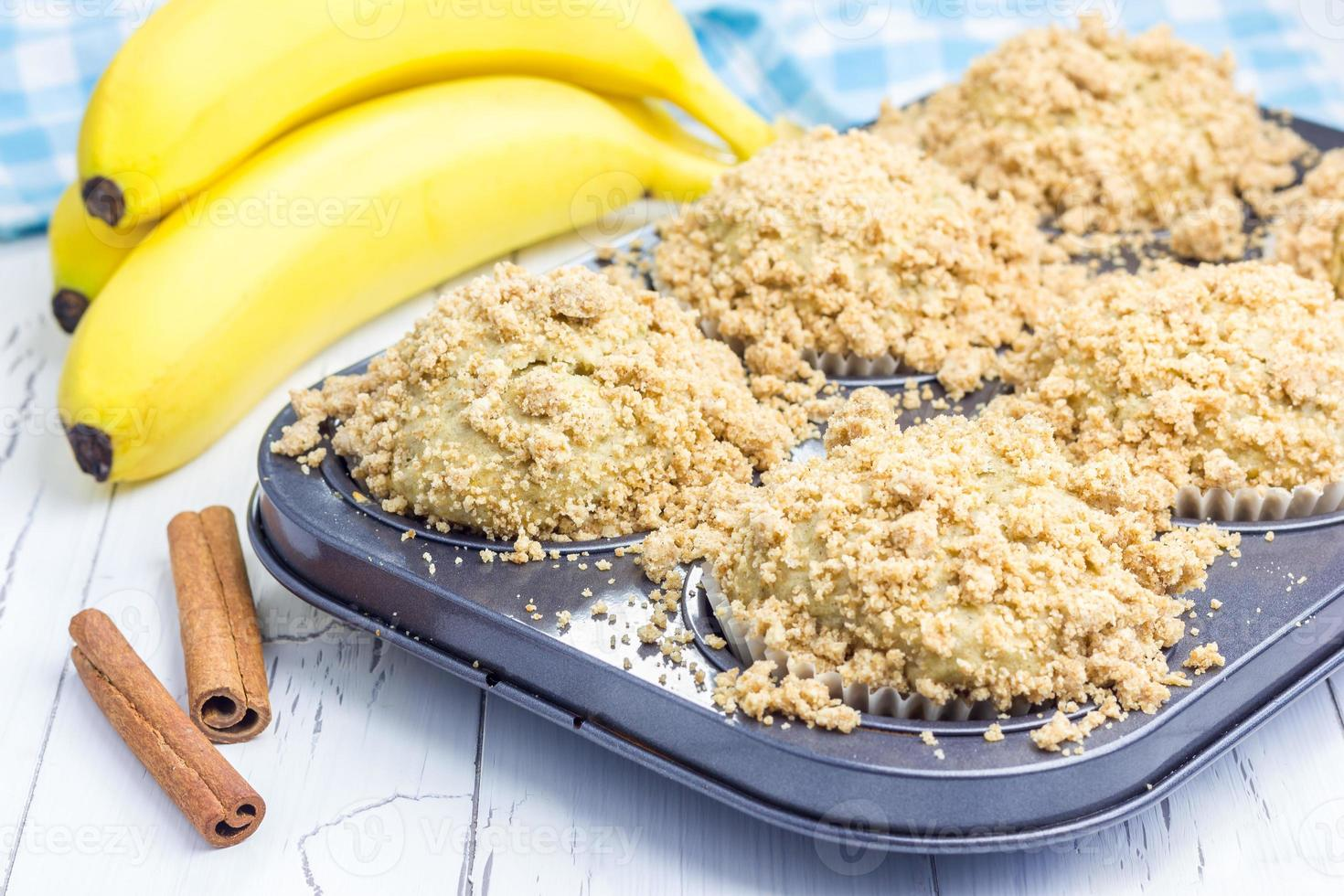 Delicious homemade cinnamon banana muffins with streusel photo