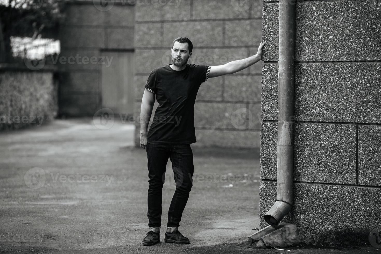 Confident man posing in selvedge  jeans photo