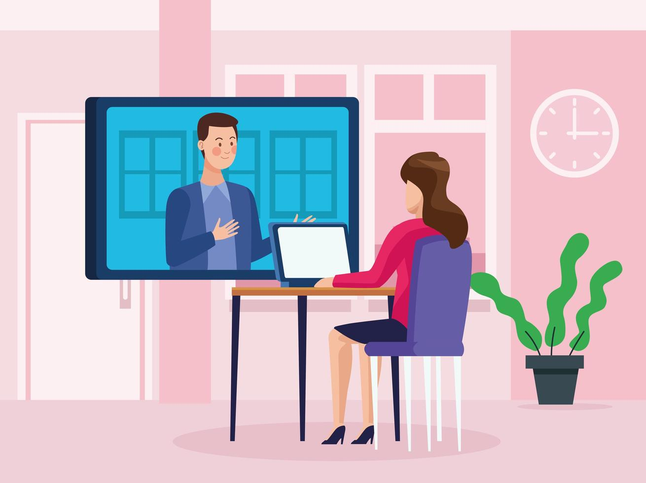 Business people in online reunion vector