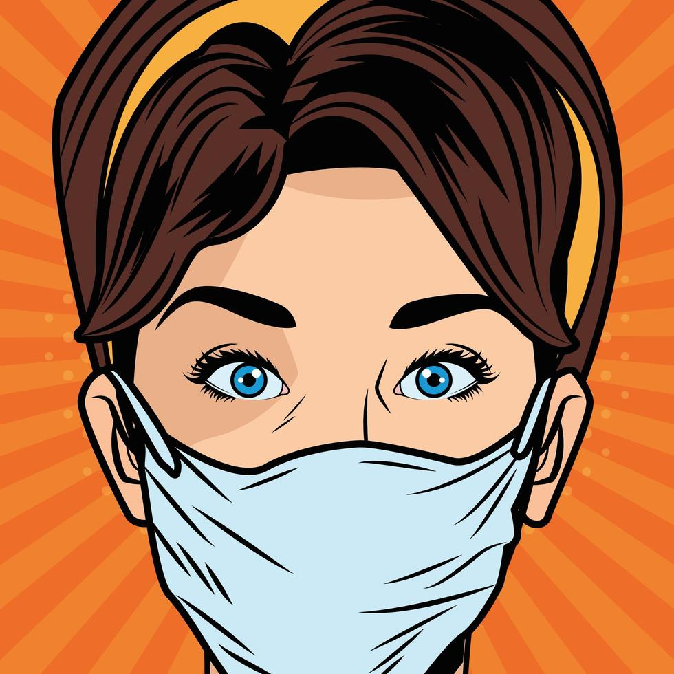 Woman using face mask for COVID 19 in pop art style vector