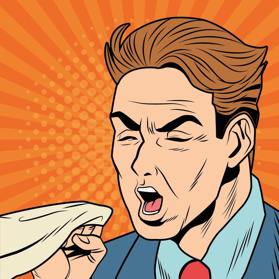 Hombre enfermo tosiendo debido a la enfermedad de covid 19 en estilo pop art vector