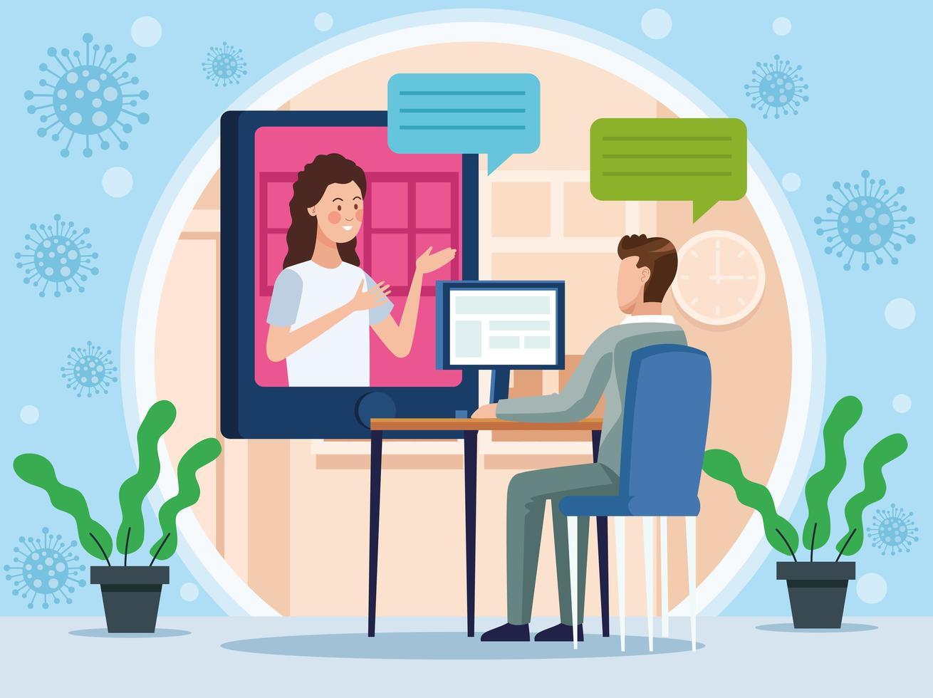 ejecutivos de negocios en reunión en línea vector
