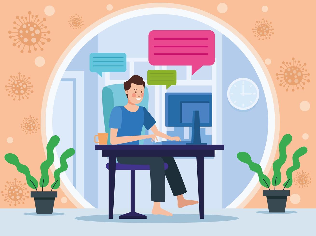 Scene of businessman in meeting online vector