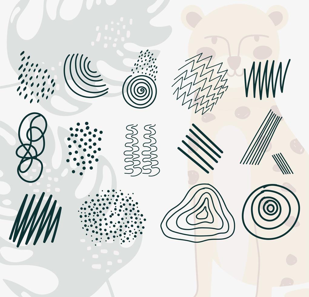 un conjunto de garabatos contemporáneos dibujados a mano vector
