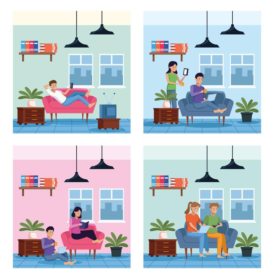 People in quarantine inside their house  vector