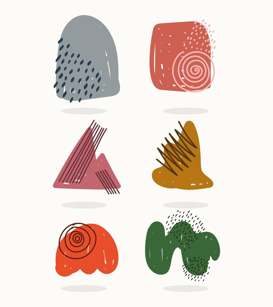Contemporary abstract shapes and scribbles icon pack vector