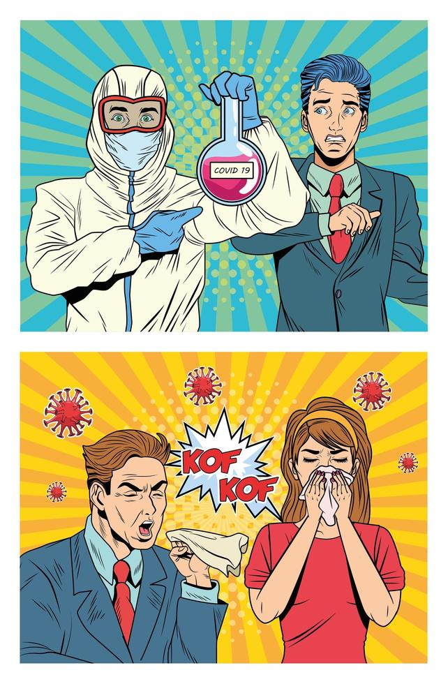 People with COVID 19 pandemic characters in pop art style vector
