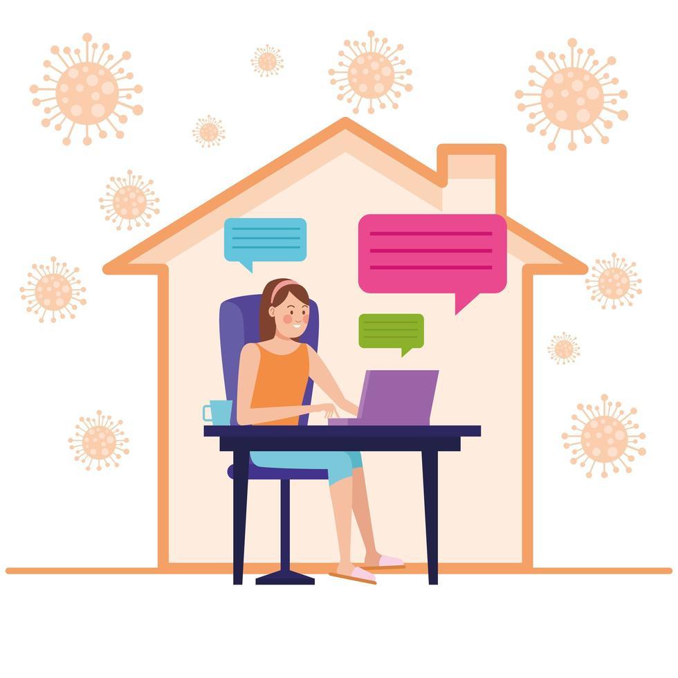 Businesswoman in online meeting vector