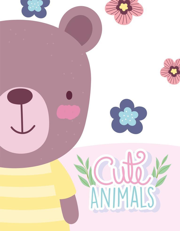 fofo urso de pelúcia com flores e modelo de cartão de letras vetor