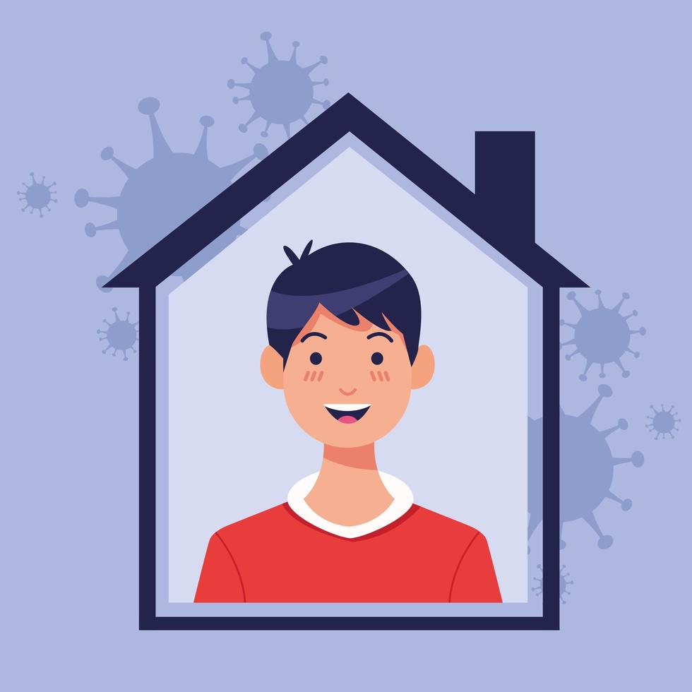 Young man inside house with COVID 19 particles vector