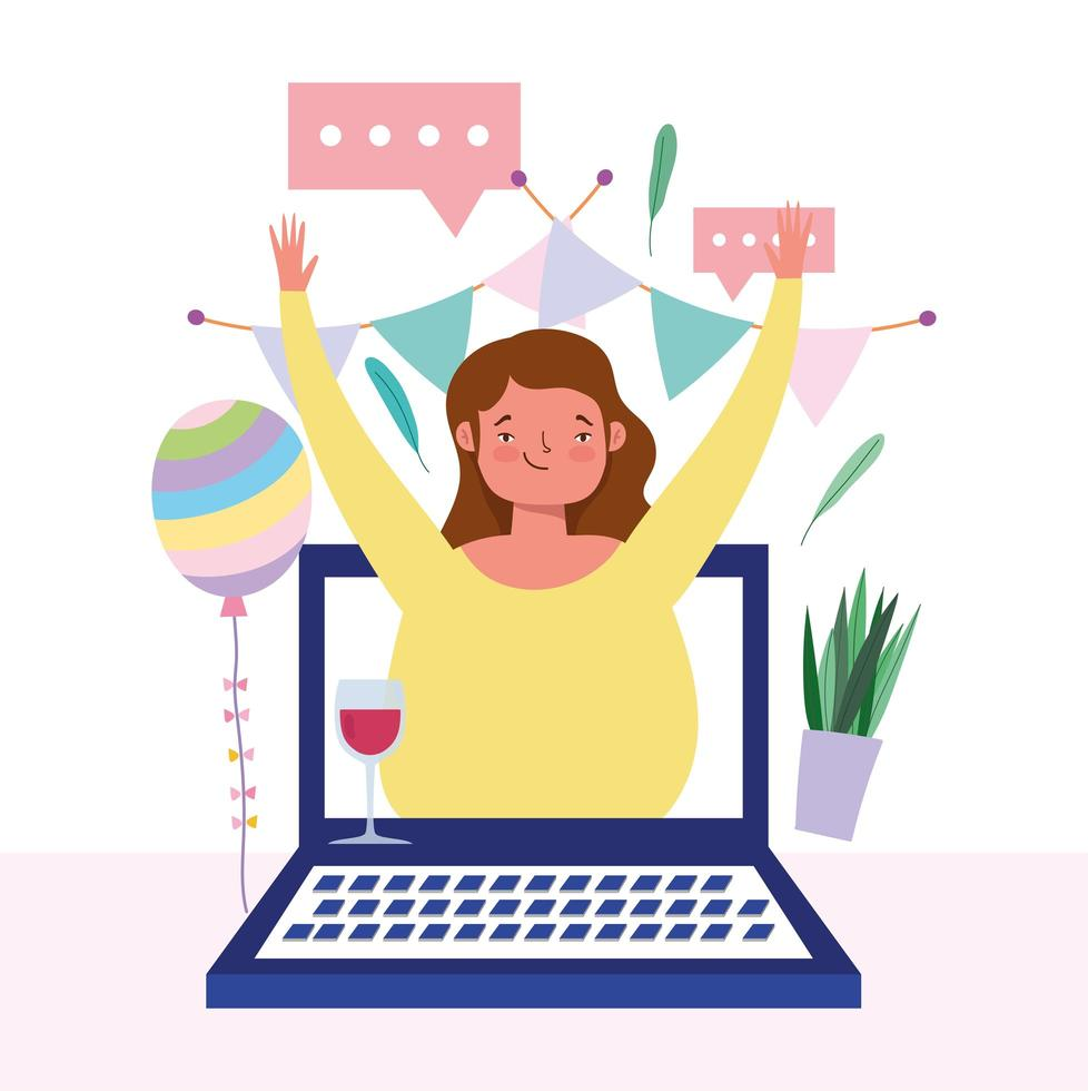 Woman on the laptop screen celebrating online vector