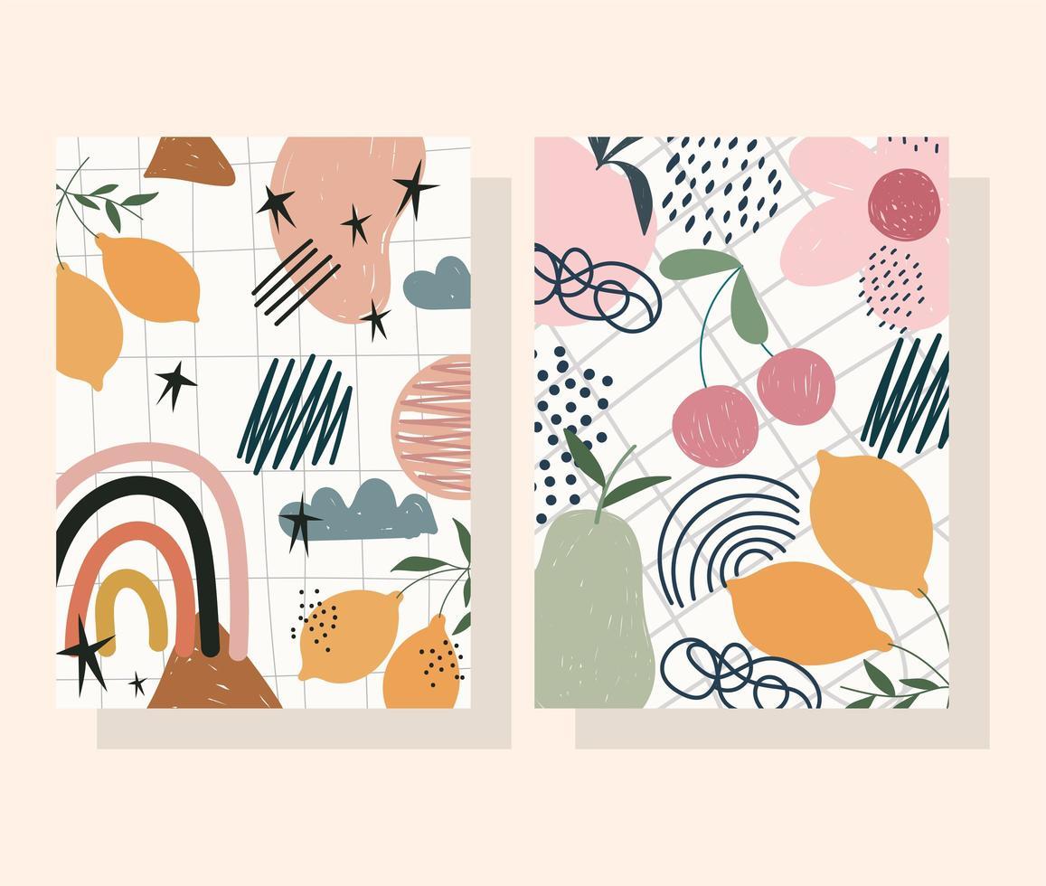 Conjunto de banner y tarjeta de flores, frutas y formas abstractas contemporáneas vector
