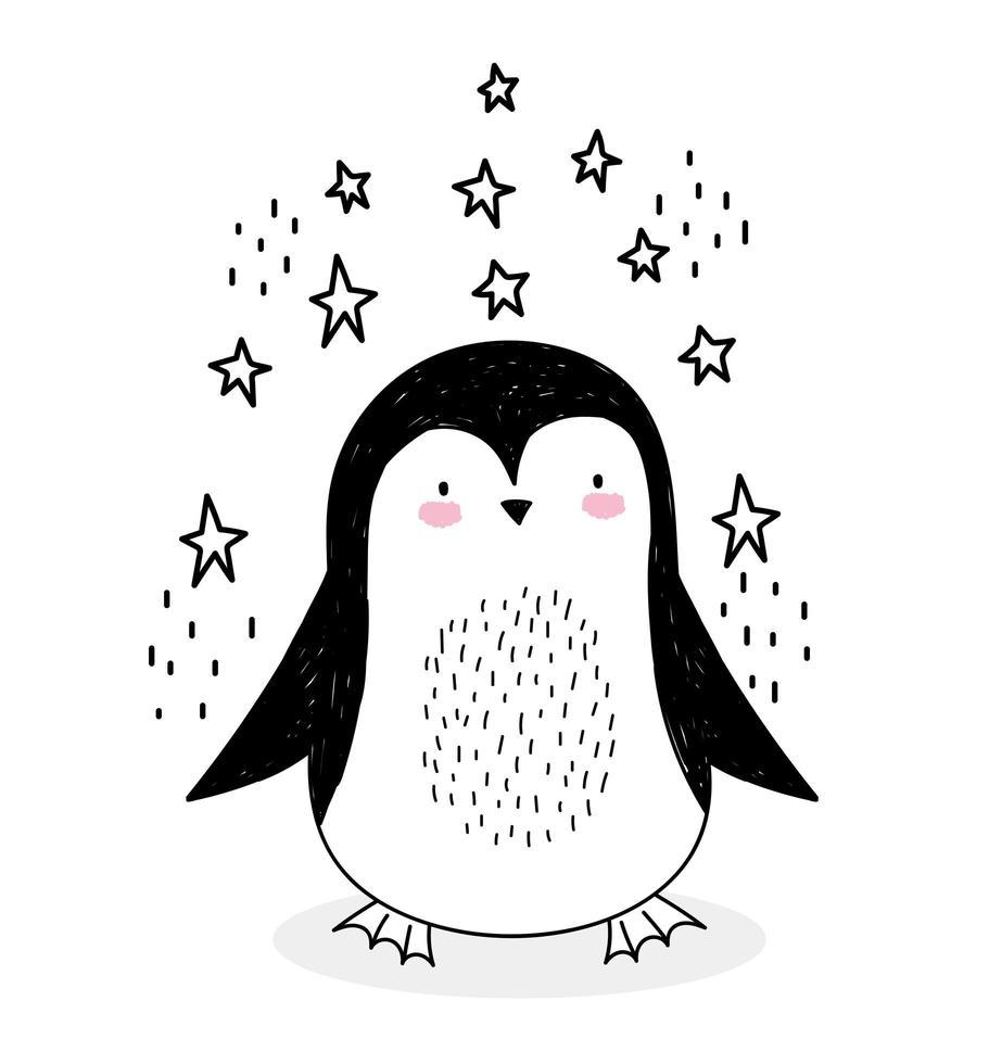 pequeno pinguim com estrelas no estilo de desenho vetor