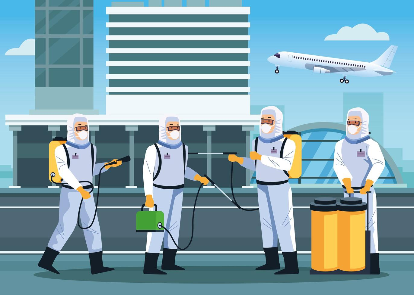 quatro trabalhadores de biossegurança desinfetam aeroporto para covid 19 vetor