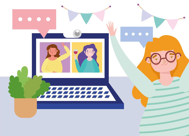 mujeres que se encuentran y celebran en línea a través de videollamadas vector
