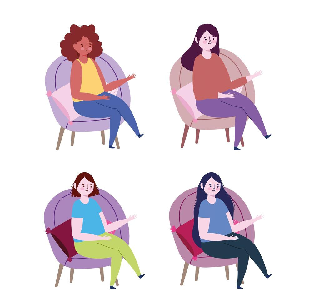 Women sitting on chairs with pillows icon set vector