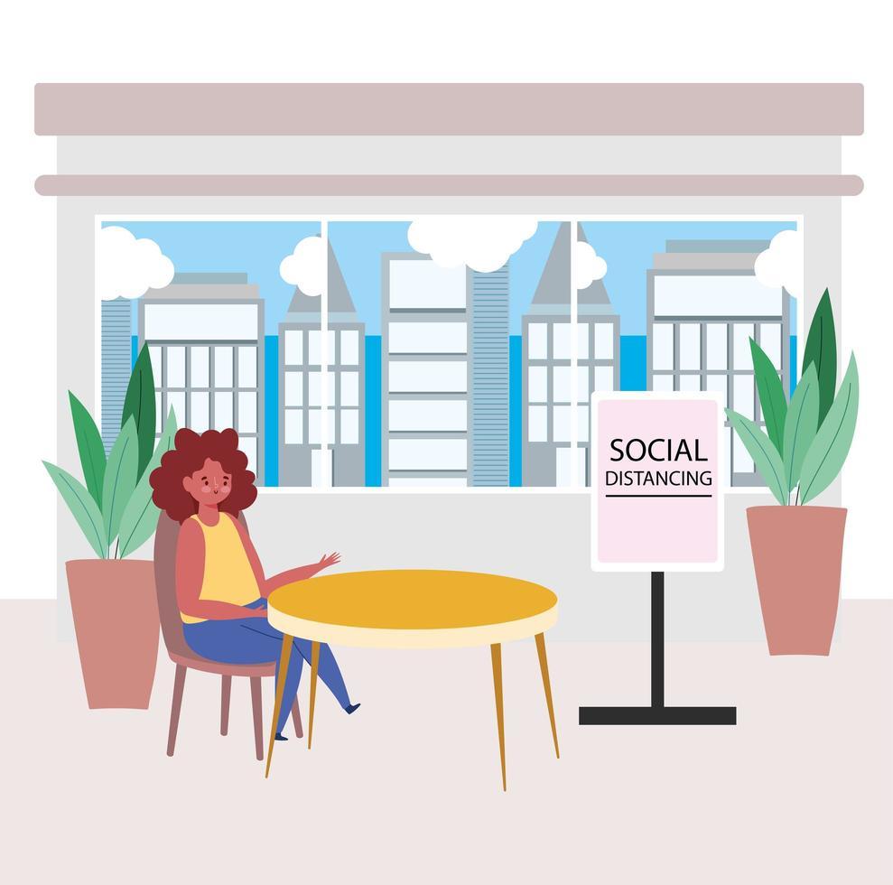 mujer sentada sola con un signo de distancia social vector