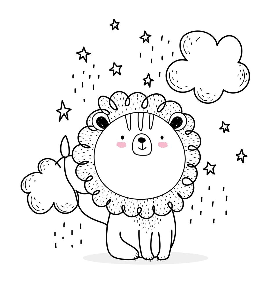 Little lion with clouds sketch-style vector