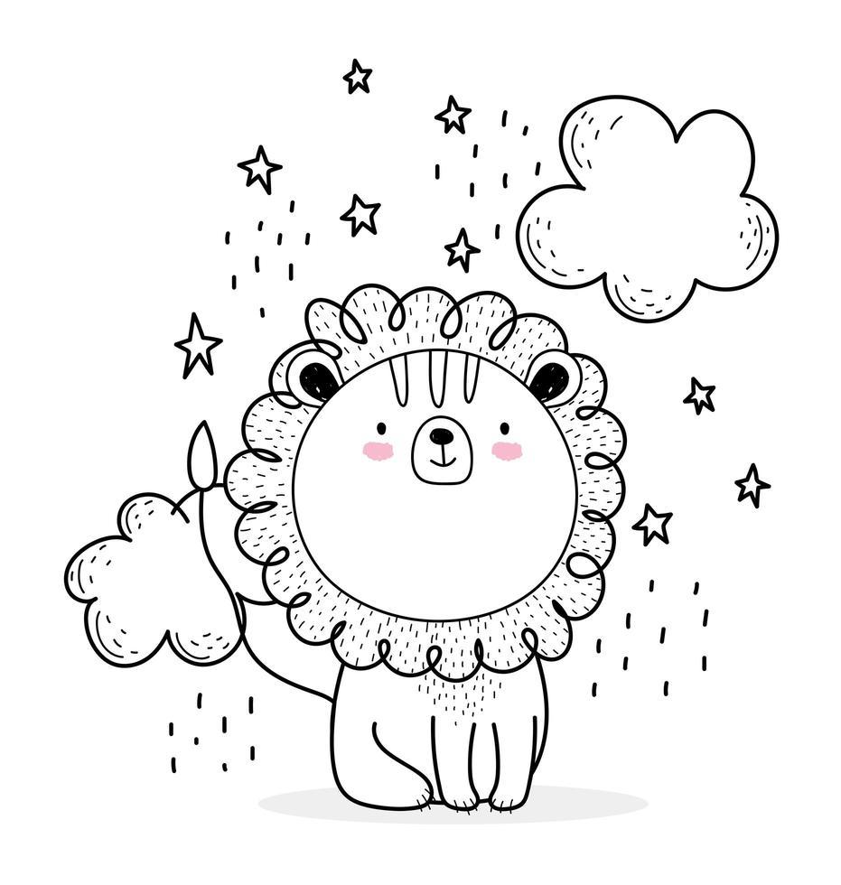 pequeño león con nubes estilo boceto vector