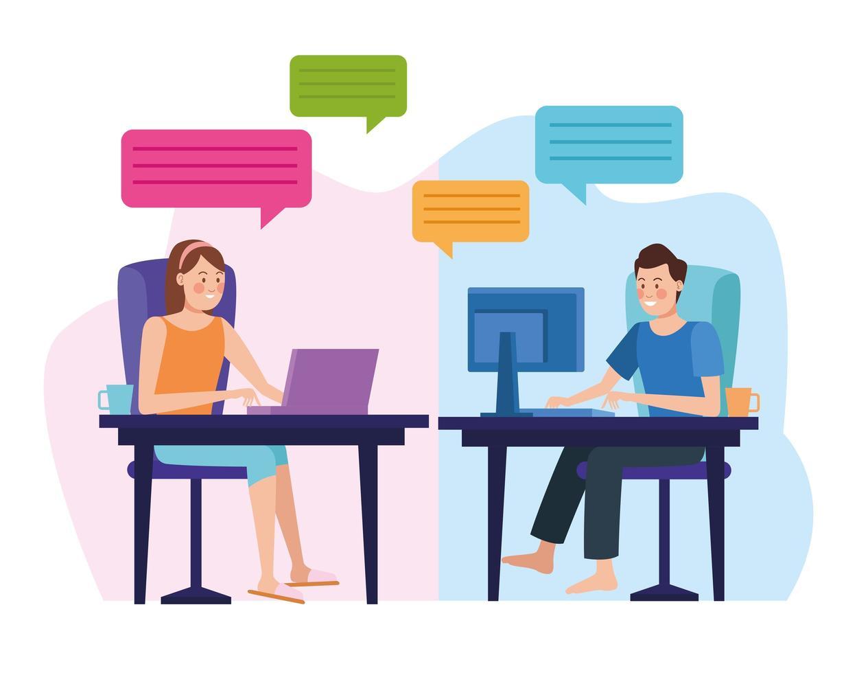 una pareja en reunión reunión vector