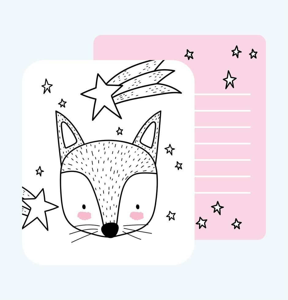 pequeno modelo de cartão de esboço de foxface vetor