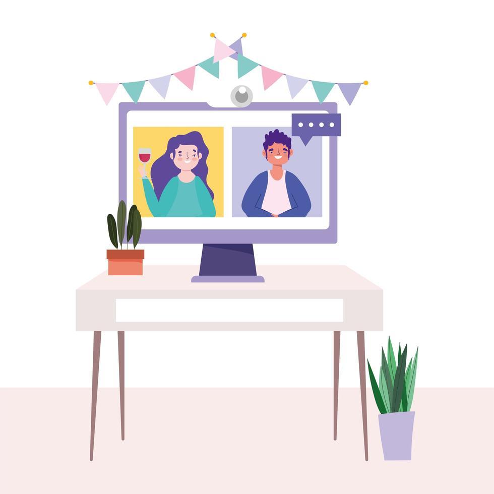 computador com amigos em uma festa online vetor