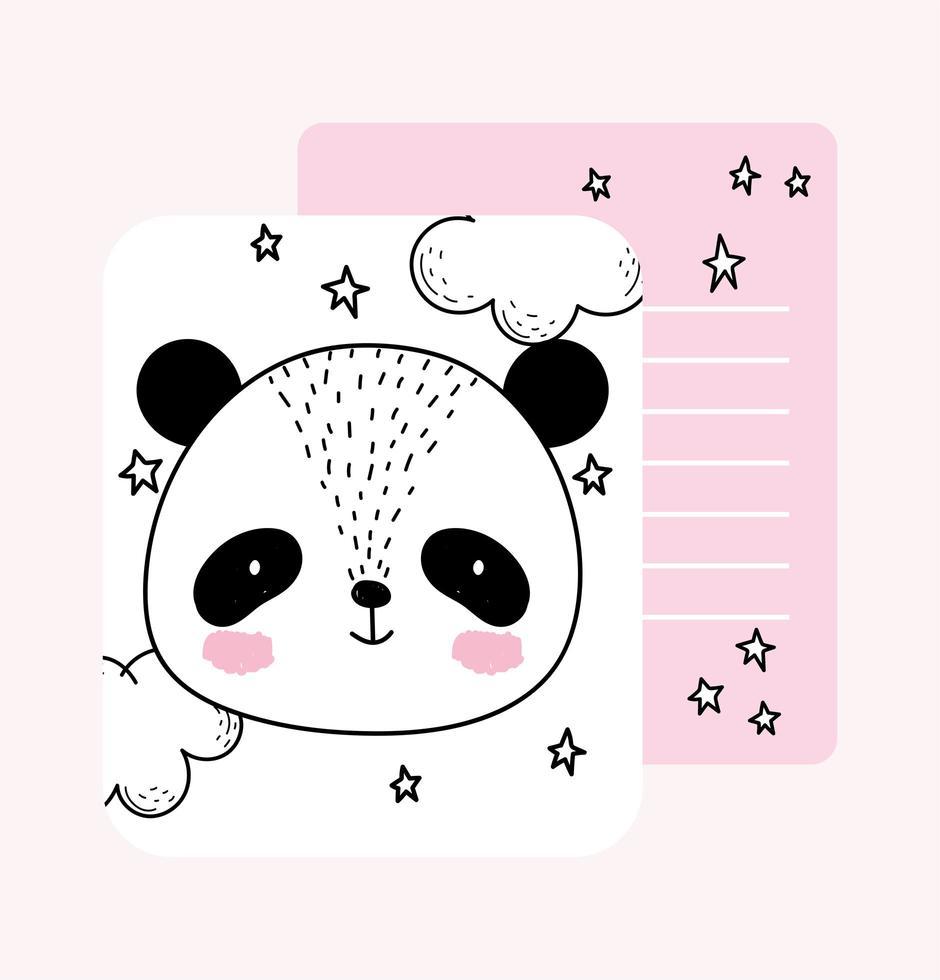Little panda face sketch card template vector