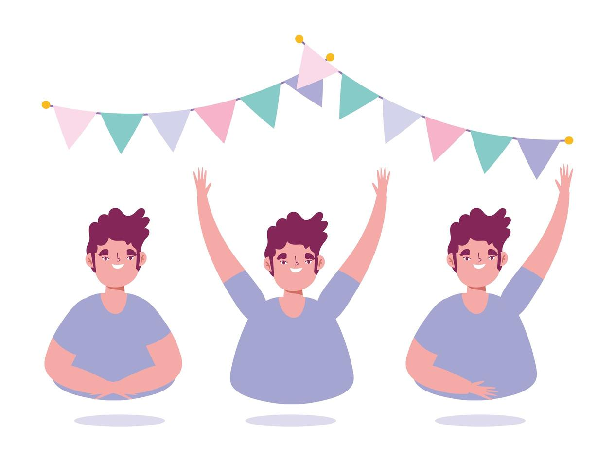 Young man party celebration icon set vector