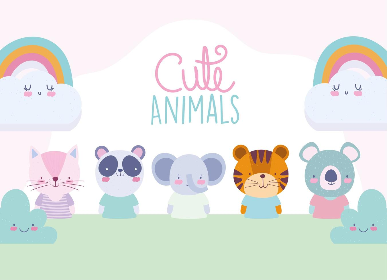 Cute animals characters with rainbows greeting card template vector