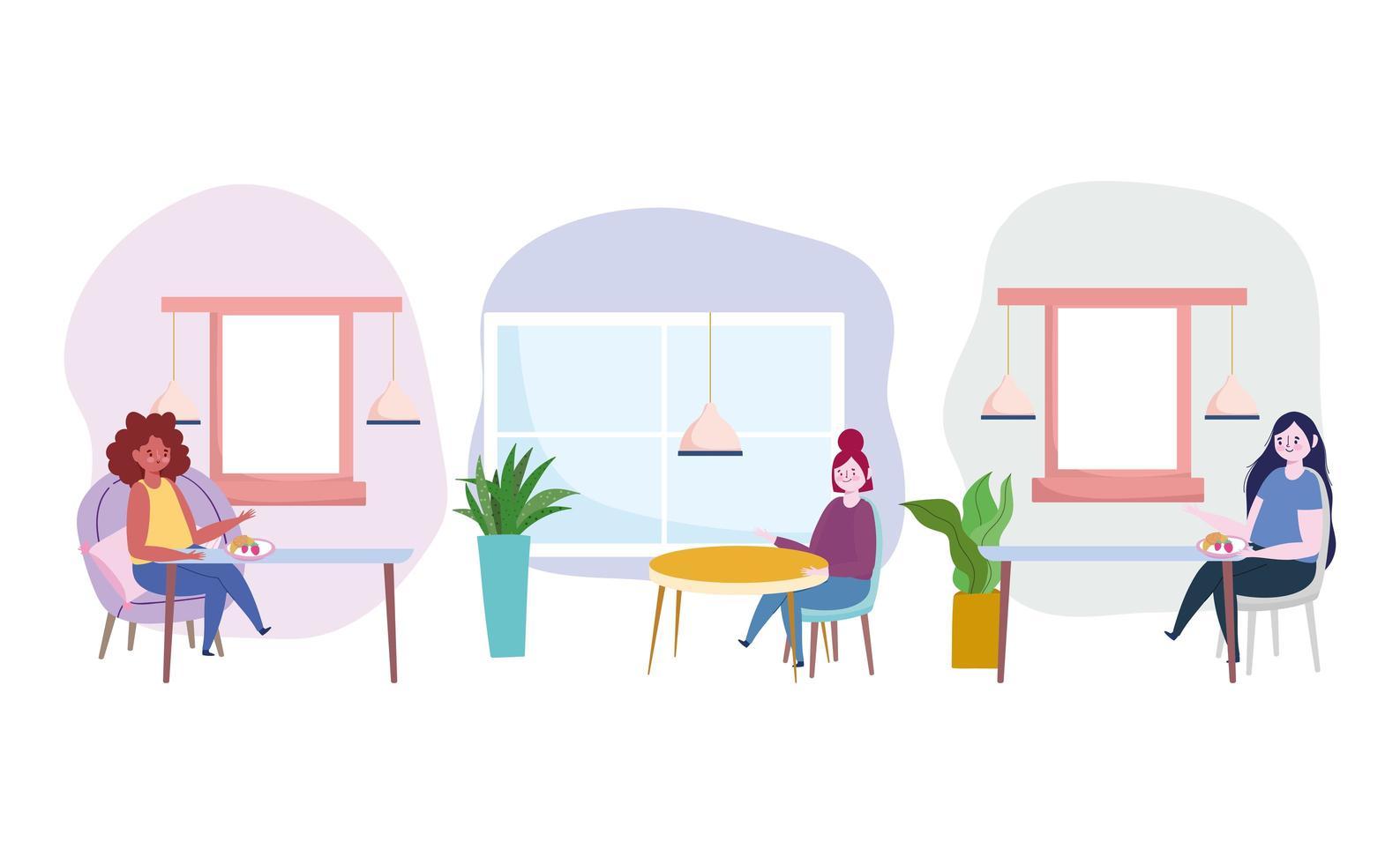 mujeres comiendo comida sola conjunto de iconos vector