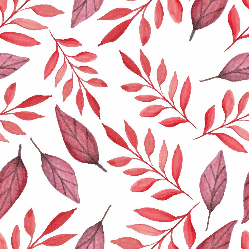 Beautiful red leaves watercolor seamless pattern vector