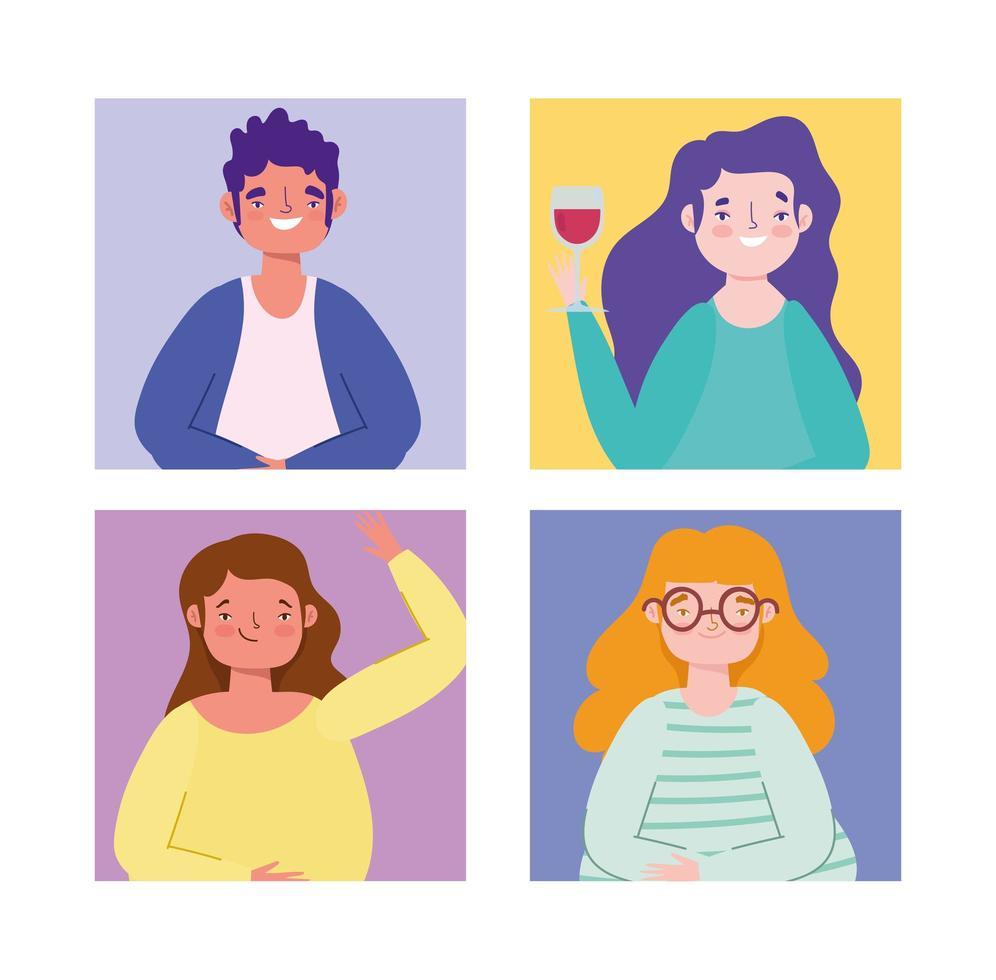 conjunto de personagens coloridos vetor