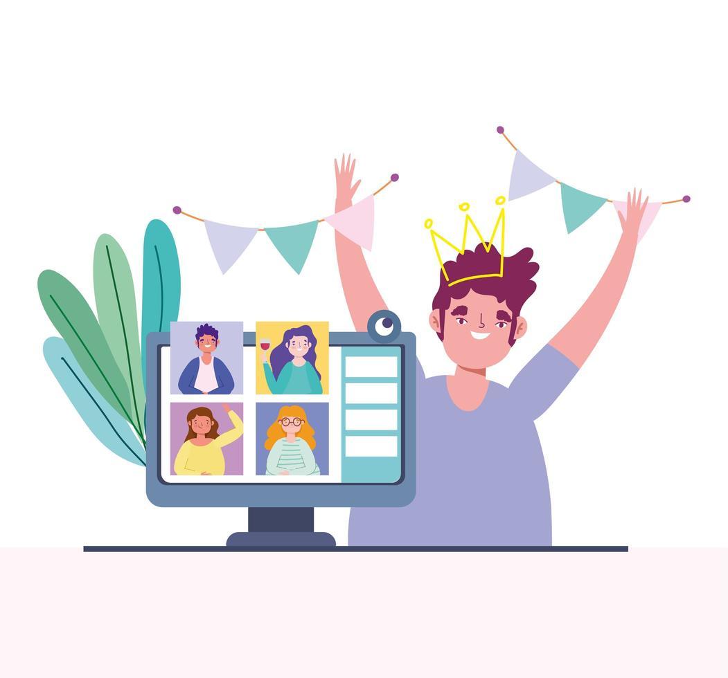 jovem em uma festa de aniversário online vetor