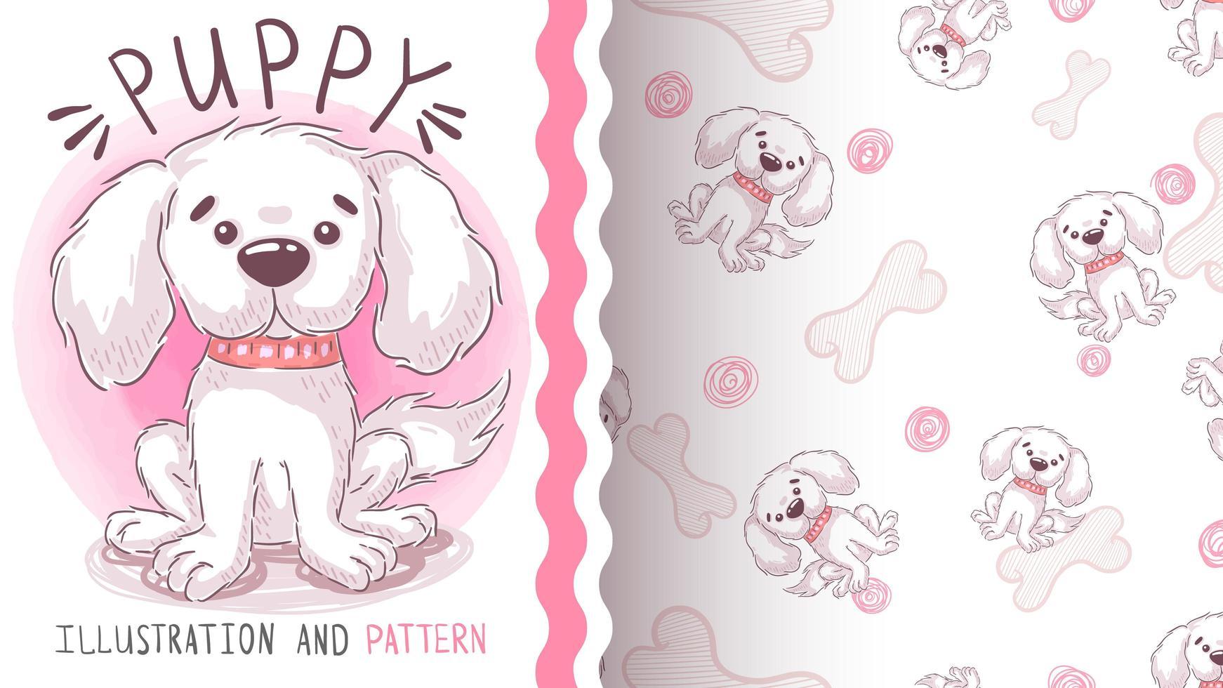 Puppy dog seamless pattern vector
