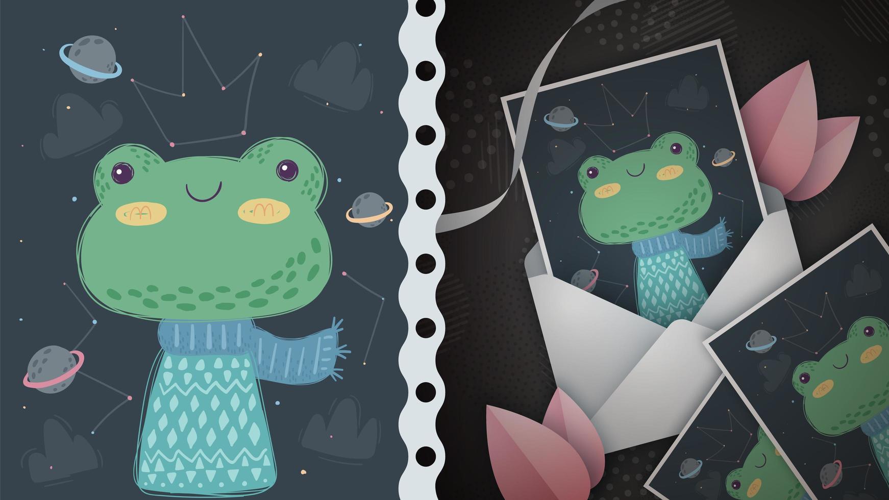 tarjeta de felicitación linda rana vector